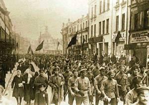 Ato politico de rua durante a Revolução