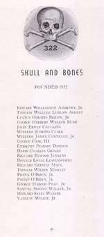 Impresso contendo lista dos membros da Ordem, incluindo o nome de Prescott Bush, pai e avô de dois presidentes dos EUA.