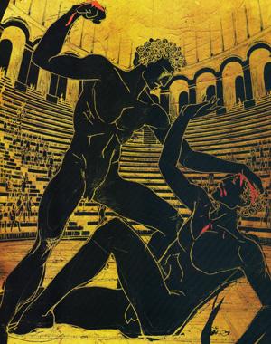 Aspecto da luta olímpica grega