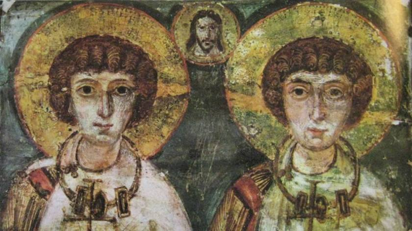 """Os soldados Sergius (São Sérgio) e Bacchus (São Baco), cujas biografias foram interpretadas por John Boswell como exemplo de """"casamento"""" entre dois homens"""
