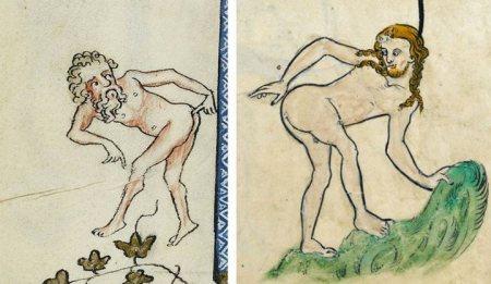 """Esquerda: Iluminura de 1350 (Jacques de Longuyon em """"Les voeux du paon"""" - 1345-50) - Direita: Iluminura de 1260 (da obra """"The Rutland Psalter"""", produzida por vários autores, sendo alguns deles identificados)."""