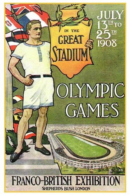 1908 - Londres sediou os jogos durante uma edição da Exibição Franco-Britânica, que ressaltou a assinatura da Entente Cordiale (1904)