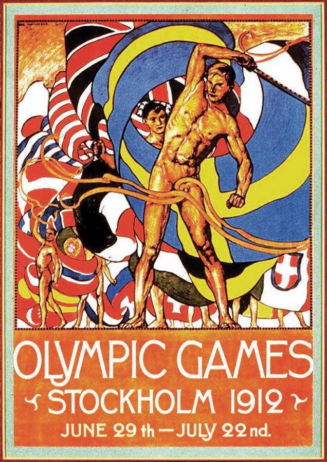 1912 - Estocolmo (Suécia) apresentou o primeiro cartaz oficial de uma Olimpíada (os anteriores eram peças que não foram produzidas pelo Comitê Olímpico Internacional)