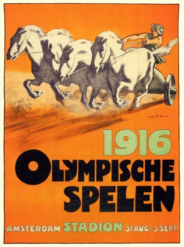 1916 - em Amsterdã (Holanda) houve uma tentativa de realização dos jogos, tendo sido então produzida a primeira edição não oficial de uma Olimpíada, que contou com poucos atletas e um público diminuto.