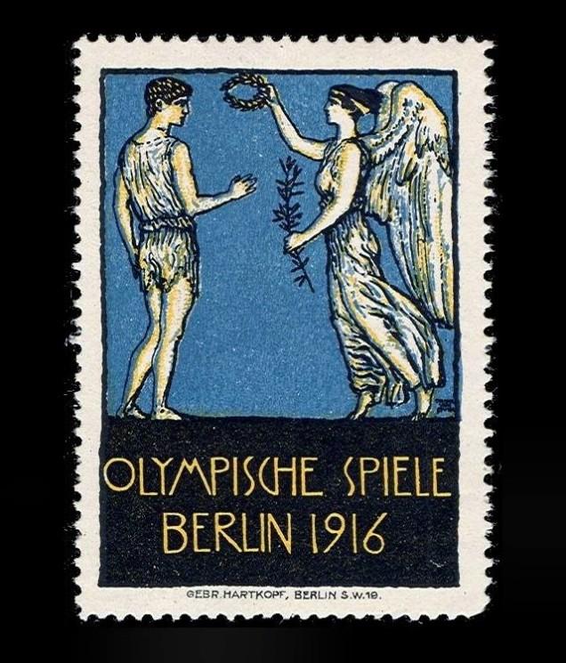 1916 - A primeira olimpíada cancelada deveria ter ocorrido em Berlin (Alemanha), mas a Primeira Guerra impediu sua realização. Um cartaz oficial sequer chegou a ser produzido e, no máximo, selos postais circulavam desde a fase anterior ao cancelamento definitivo.