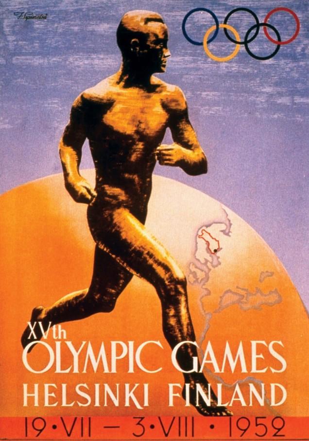 1952 - O projeto visual da tentativa de fracassada de realizar o jogos em Helsinque em 1940 foi mantida quando, enfim, a cidade sediou as Olimpíadas.