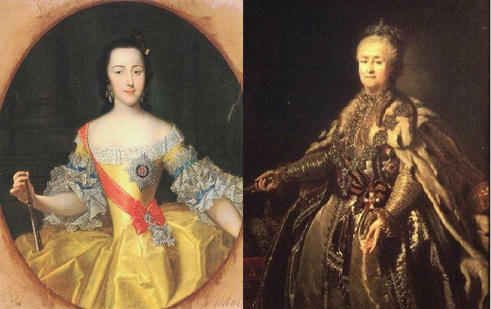 Catarina em sua juventude e em fase adiantada de seu longo reinado