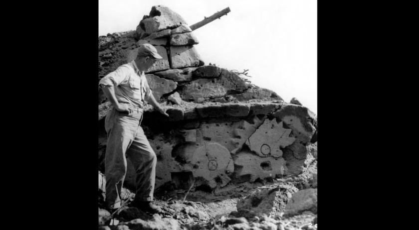 Dummy tank carved from soft volcanic ash, Iwo Jima. (U.S. Army)